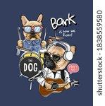 cartoon dog with music... | Shutterstock .eps vector #1838559580
