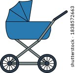 pram icon. editable outline...