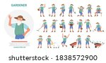 gardener working poses... | Shutterstock .eps vector #1838572900