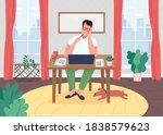 writer at laptop flat color... | Shutterstock .eps vector #1838579623