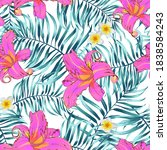 tropical seamless floral... | Shutterstock .eps vector #1838584243