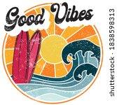 retro good vibes slogan... | Shutterstock .eps vector #1838598313