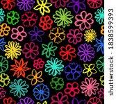 flowers crayon pattern.... | Shutterstock .eps vector #1838599393