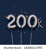 silver balloon 200k sign on... | Shutterstock .eps vector #1838621590