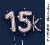silver balloon 15k sign on dark ... | Shutterstock .eps vector #1838621629