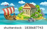 antique wooden ship with... | Shutterstock .eps vector #1838687743