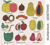 bright tropical fruit set in... | Shutterstock .eps vector #183870440