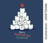 quarantine style christmas card ... | Shutterstock .eps vector #1838720686