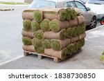 pallet with stack of turf grass ... | Shutterstock . vector #1838730850