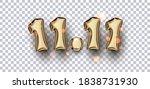 11.11 golden balloon sign on...   Shutterstock .eps vector #1838731930