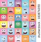 cartoon faces with emotions  | Shutterstock .eps vector #183876350
