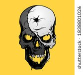 Black And White Skull On Yellow ...