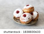 Tasty Donuts With Jam On Wooden ...