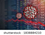 Small photo of Stock Market plunge from Covid-19 Coronavirus pandemic. Economic downfall and recession. Elements of this image furnished by the CDC.