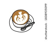 coffee latte doodle icon ... | Shutterstock .eps vector #1838935099