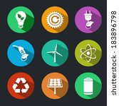 flat energy and ecology icons... | Shutterstock .eps vector #183896798