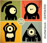 set of four monsters at retro... | Shutterstock .eps vector #183906500
