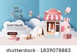 paper art shopping online on... | Shutterstock .eps vector #1839078883