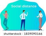 social distance.the man... | Shutterstock . vector #1839090166