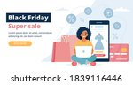 black friday banner with woman... | Shutterstock .eps vector #1839116446