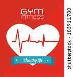 fitness design over red... | Shutterstock .eps vector #183911780