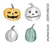 halloween carved pumpkins... | Shutterstock .eps vector #1839148210