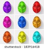 flat design polygon set of... | Shutterstock .eps vector #183916418