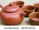 Brown Clay Pot Tea Set On...