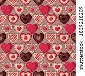 pattern of valentine hearts in... | Shutterstock .eps vector #1839218209