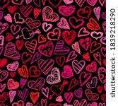 crayon hearts pattern.... | Shutterstock .eps vector #1839218290