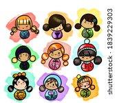 set of japanese kokeshi style...   Shutterstock . vector #1839229303