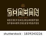 tribal style shaman font ... | Shutterstock .eps vector #1839243226
