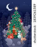 christmas tree decorating... | Shutterstock .eps vector #1839261589