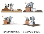set of coffee with moka pot and ...   Shutterstock . vector #1839271423