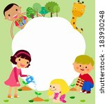 happy kids and frame | Shutterstock .eps vector #183930248