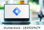 Small photo of POZNAN, POL - SEP 23, 2020: Laptop computer displaying logo of Google Tag Manager, a Tag management system to manage JavaScript and HTML tags, including web beacons, for web tracking and analytics