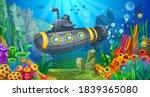 steel submarine plunges into... | Shutterstock .eps vector #1839365080