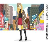 big city girl fashion style | Shutterstock .eps vector #183937220