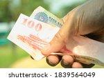 selective focus of bank note...   Shutterstock . vector #1839564049