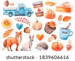Watercolor Autumn Clipart With...