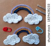 Small photo of Crochet for beginner patter clouds with rainbow. This pattern so easy, just use singel crochet and double crochet to make clouds with rainbow.