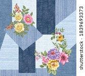 seamless denim patchwork... | Shutterstock .eps vector #1839693373