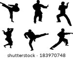 The set of martial art silhouette