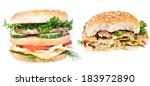 hamburgers isolated on white... | Shutterstock . vector #183972890