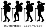 girl with a backpack behind her ... | Shutterstock .eps vector #1839747889