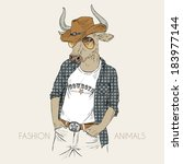 animal,anthropomorphic,anthropomorphism,art,body,bull,card,character,concept,cool,cowboy,design,drawing,drawn,dressed