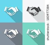 flat icons handshake....   Shutterstock .eps vector #183977384