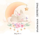 cute doodle bunny with floral...   Shutterstock .eps vector #1839819463