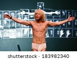 "Small photo of SEPTEMBER 11, 2008 - BERLIN: Mirco Kreibich in a scene of the theater play ""Caligula"" (by Albert Camus), Box und Bar, Deutsches Theater, Berlin."