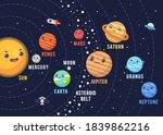 the cute solar system design.... | Shutterstock .eps vector #1839862216